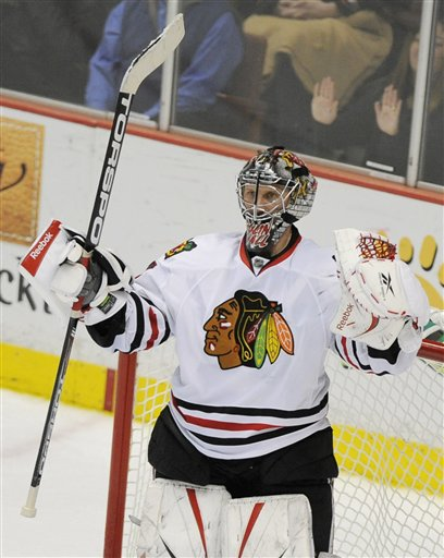 Chicago Blackhawks goalie Nikolai Khabibulin (AP Photo/Chris Carlson)